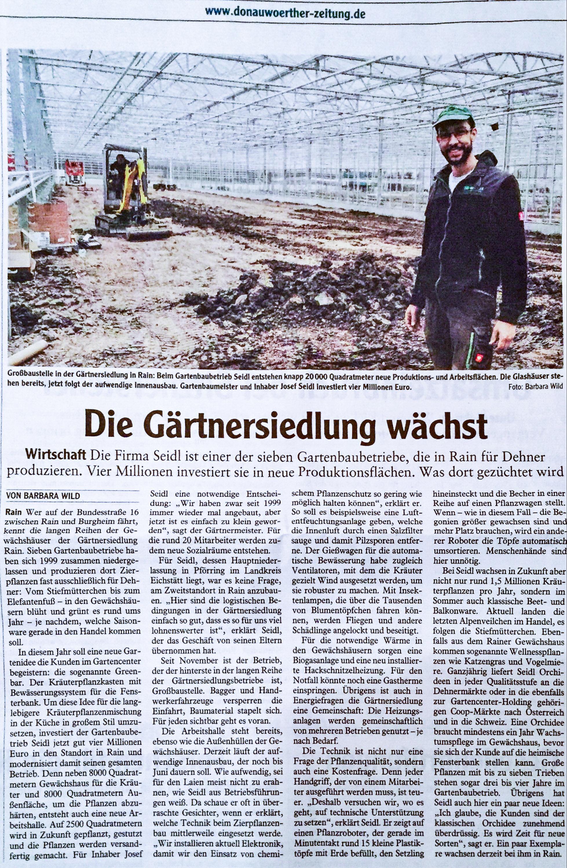 Donauw rther zeitung g rtnersiedlung rain gmbh for Zeitung gartenidee