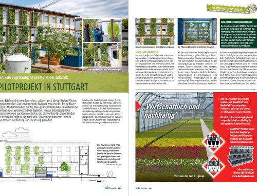 """TASPO spezial """"Nachhaltigkeit 2021"""" – Vertikale Begrünung ist ein Markt der Zukunft"""